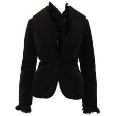 Valentino Black Puffer Jacket with Ruffle Collar & Cuffs