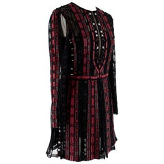 Valentino Black & Red Leather & Tulle Illusion Embroidered Dress - Size US 4