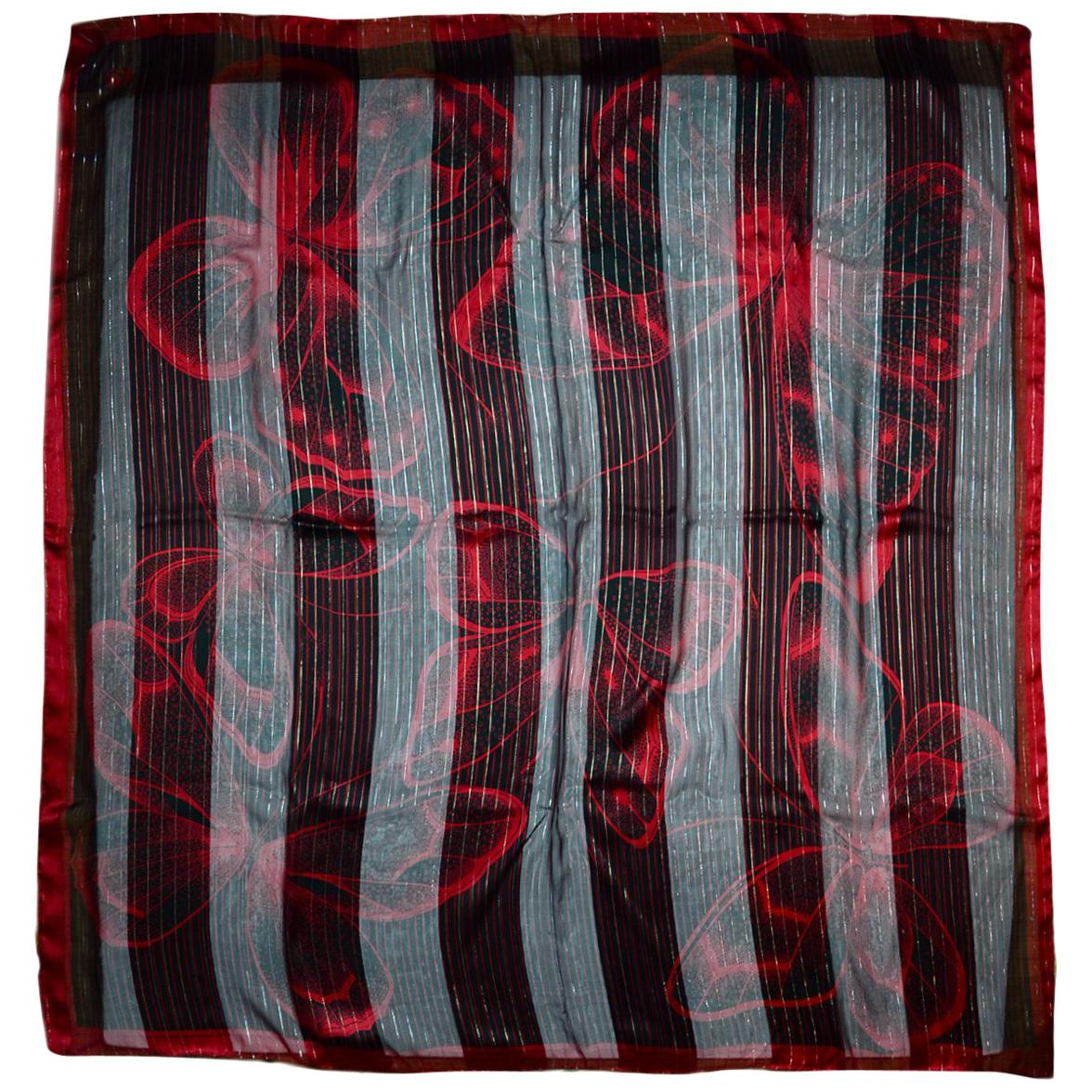 """Valentino Black/Red Sheer Scarf W/ Butterflies 54"""""""