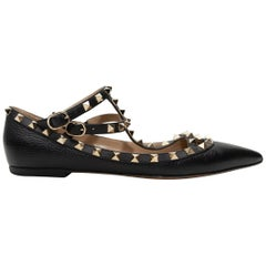 Valentino Black Rockstud Pointed-Toe Flats