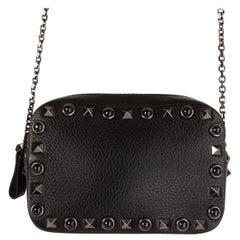 VALENTINO black ROLLING ROCKSTUD SMALL CHAIN CROSSBOY CAMERA Shoulder Bag