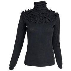 Valentino Black Ruffle Yoke Turtleneck Sweater