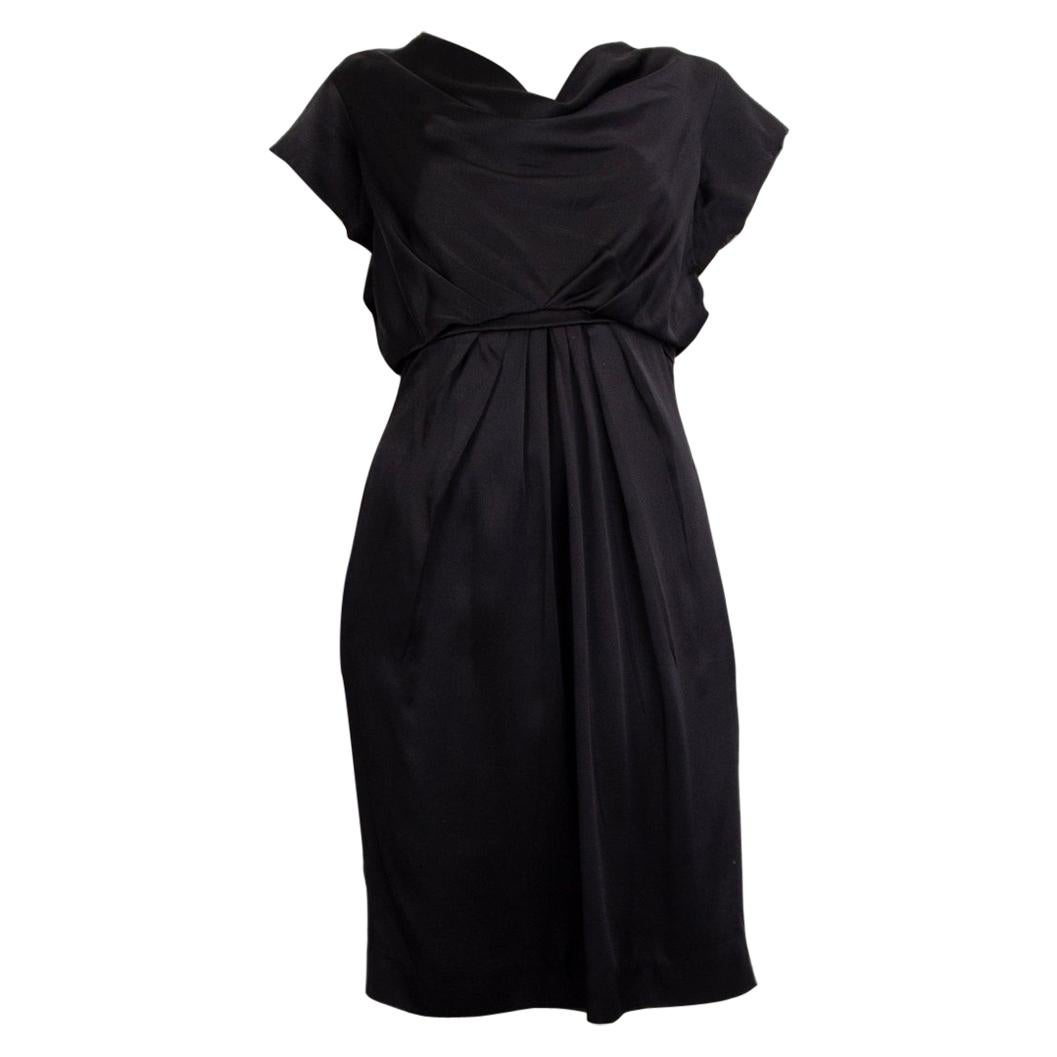 VALENTINO black SATIN COWL NECK CAP SLEEVE Dress 44