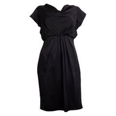 VALENTINO black SATIN COWL NECK CAP SLEEVE Dress 44