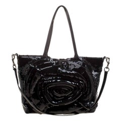 Valentino Black Sequin Small Petale Tote
