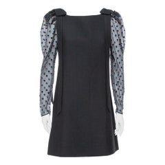 Valentino Black Sequined Puff Sleeve Detail Shift Dress M