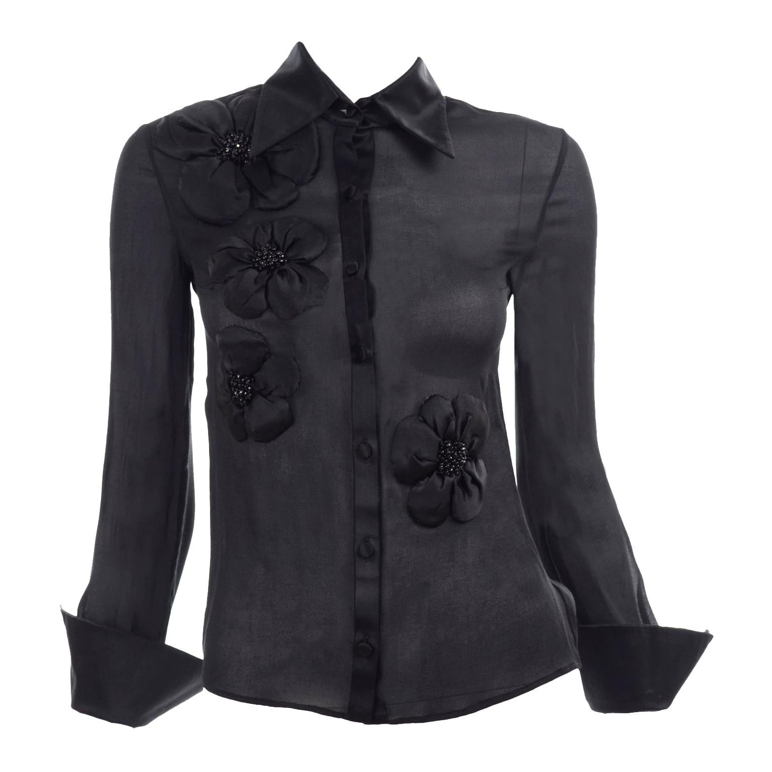 Valentino Black Sheer Chiffon Blouse With Beaded Silk Floral Appliques