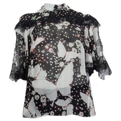 VALENTINO black silk chiffon POP BUTTERFLIES Blouse Shirt 42 M