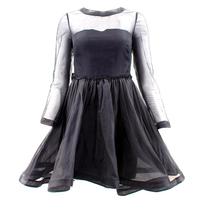 Valentino Black Silk Dress with Flounce Skirt - Size US 4