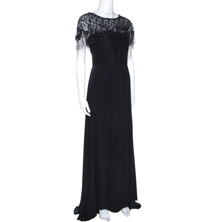 Valentino Black Silk Embellished Lace Trim Maxi Dress L In Good Condition For Sale In Dubai, Al Qouz 2