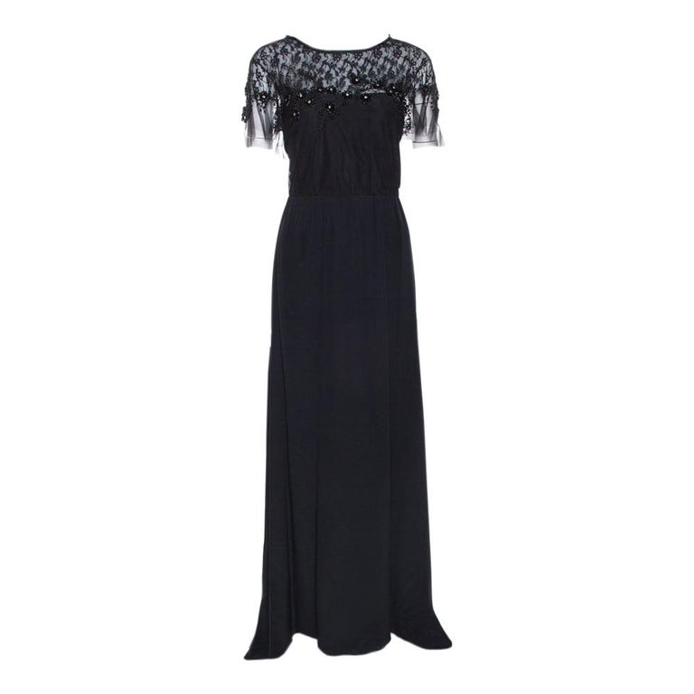 Valentino Black Silk Embellished Lace Trim Maxi Dress L For Sale
