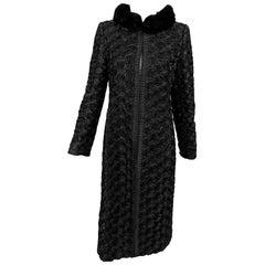 Valentino Black Silk Faille Appliqued Coat Mink Collar