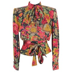 Valentino Black Silk Floral Red Bow Short Waist Shirt 1980s