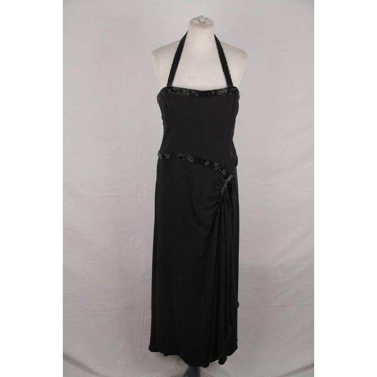 Valentino Black Silk Halterneck Gown Evening Dress For Sale at 1stdibs
