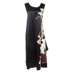 Valentino Black Silk 'Kimono 1997' Floral Applique Dress L