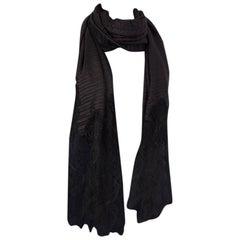 VALENTINO black silk PLISSE & LACE Shawl Scarf