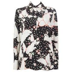 VALENTINO black silk POP BUTTERFLIES Blouse Shirt 42 M