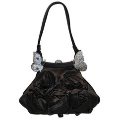10c00685ead06d Valentino Black Silk Rose and Swarovski Crystal Butterfly Evening Bag