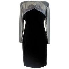 Valentino Black Silk Velvet Evening 1990s Party Cocktail Elegant Sheath Dress