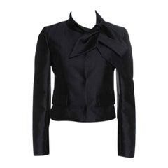 Valentino Black Silk Wool Neck Tie Detail Cropped Jacket S
