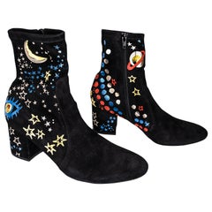 Valentino Black Star Print Suede Ankle Boots EU 39.5