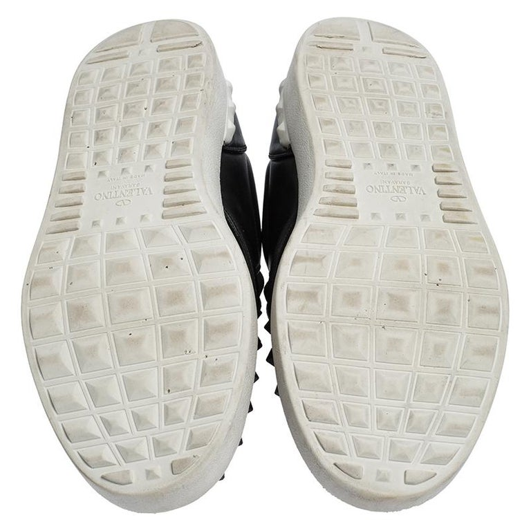 Men's Valentino Black Studded Leather Slip On Sneakers Size 45 For Sale