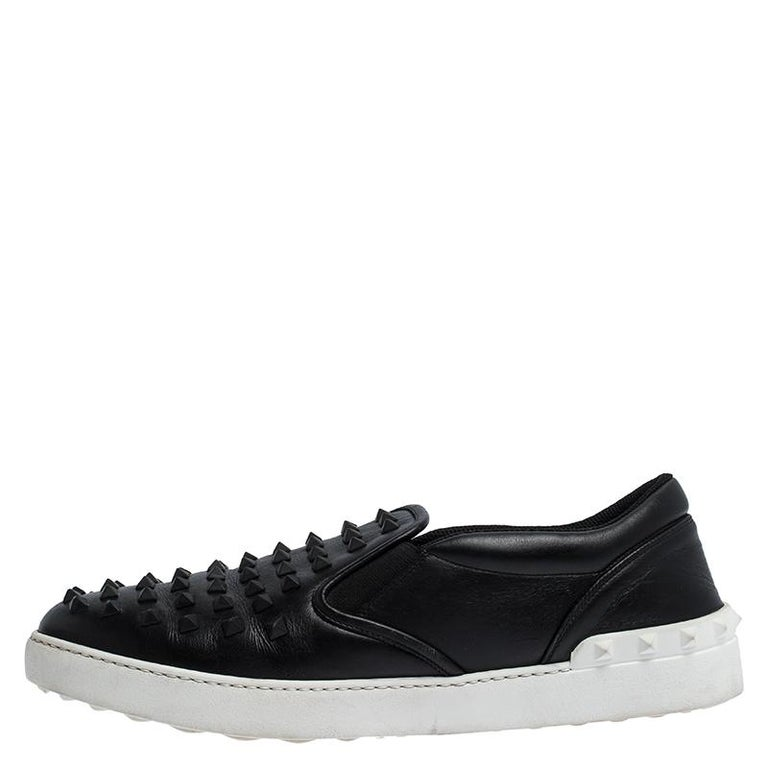 Valentino Black Studded Leather Slip On Sneakers Size 45 For Sale 2