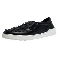 Valentino Black Studded Leather Slip On Sneakers Size 45