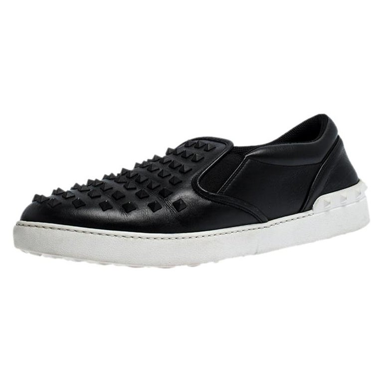 Valentino Black Studded Leather Slip On Sneakers Size 45 For Sale