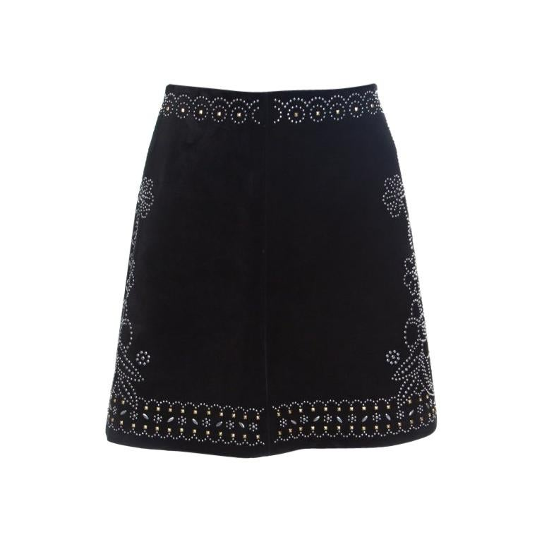 c3c5a2c354 Valentino Black Studded Suede Mini Skirt M For Sale at 1stdibs