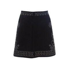 Valentino Black Studded Suede Mini Skirt M