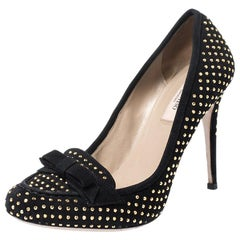 Valentino Black Suede Gold Tone Studded Loafer Pumps Size 38