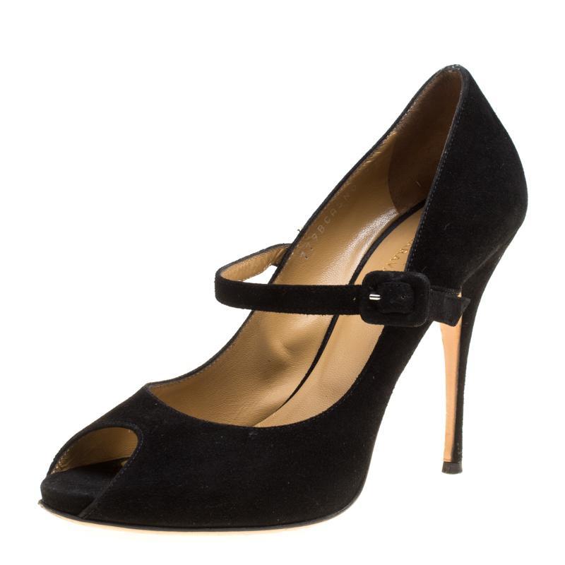 Suede Size Peep Mary Jane Toe Black 37 Valentino Pumps lFJcKT1
