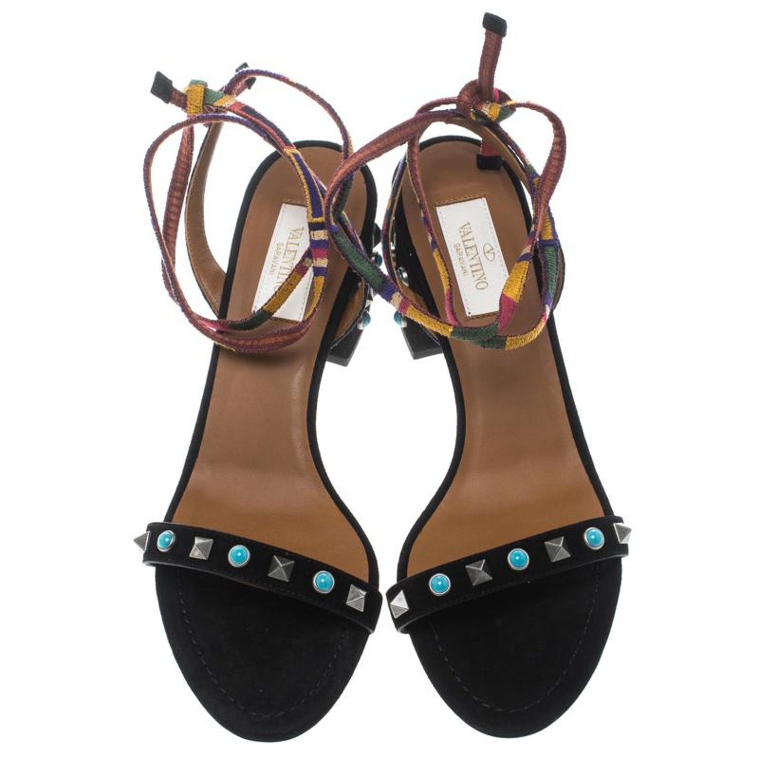 fd2e4524c0c0 Valentino Black Suede Rockstud Rolling Block Heel Ankle Wrap Sandals Size  39 For Sale at 1stdibs