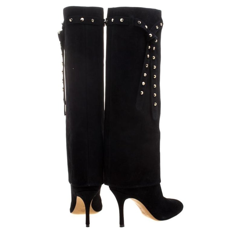 0d279eca2d Valentino Black Suede Rockstud Tie Foldover Knee Length Boots Size 37 In  New Condition For Sale