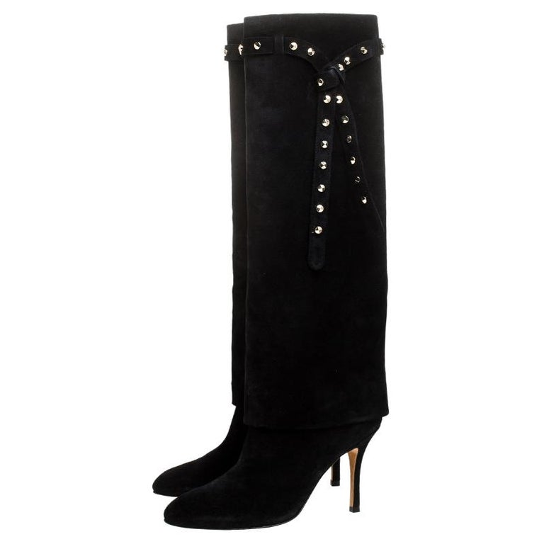 Valentino Black Suede Rockstud Tie Foldover Knee Length Boots Size 37 For Sale 1