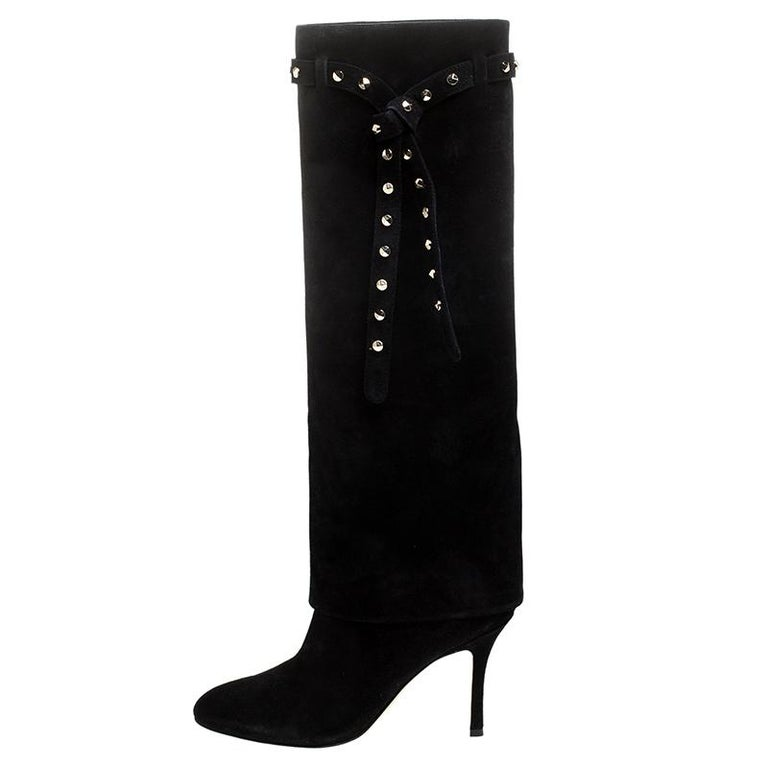 Valentino Black Suede Rockstud Tie Foldover Knee Length Boots Size 37 For Sale 2