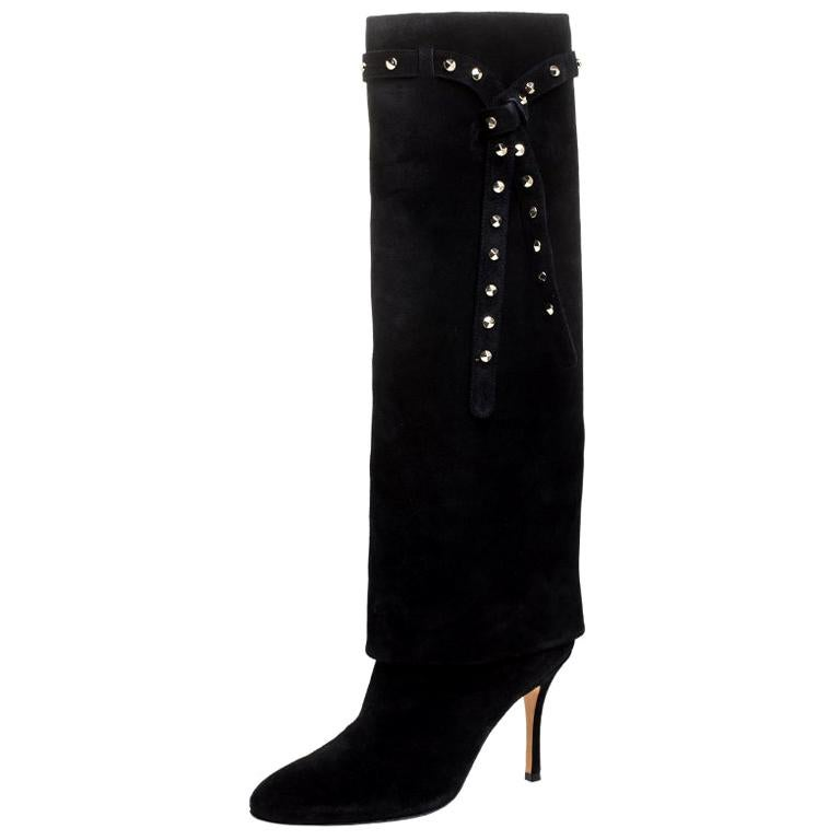 Valentino Black Suede Rockstud Tie Foldover Knee Length Boots Size 37 For Sale