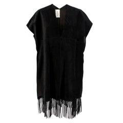 Valentino Black Suede Short Sleeve Caban Fringe detail Coat - Size S