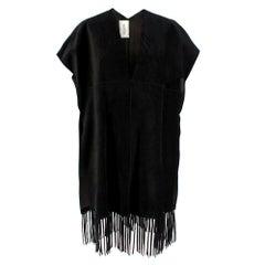 Valentino Black Suede Short Sleeve Caban Fringe detail Coat Sold Out S