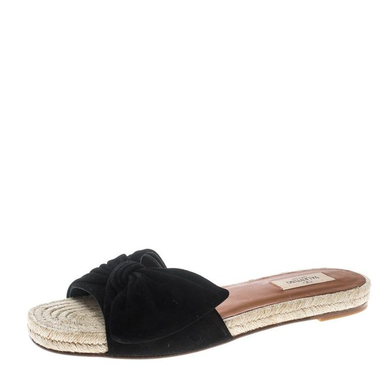 93bf4aed2f4d6 Valentino Black Suede Tropical Bow Espadrille Slide Sandals Size 39.5 For  Sale