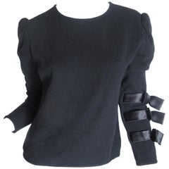 Valentino Black Sweater with Ribbon Detail