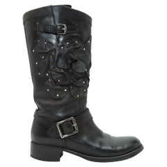 Valentino Black Tall Floral Leather Boots