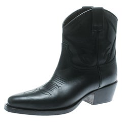 Valentino Black Texan Embroidered Leather Pointed Toe Cowboy Boots Size 36