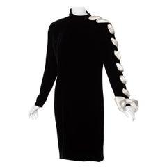 Valentino Black Velvet Ivory Satin Ribbon Bow Dress, 1980s
