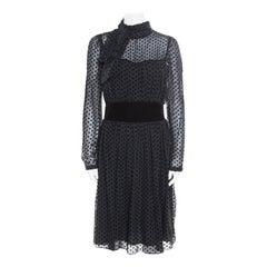 Valentino Black Velvet Polka Dotted Silk Neck Tie Detail Long Sleeve Dress M