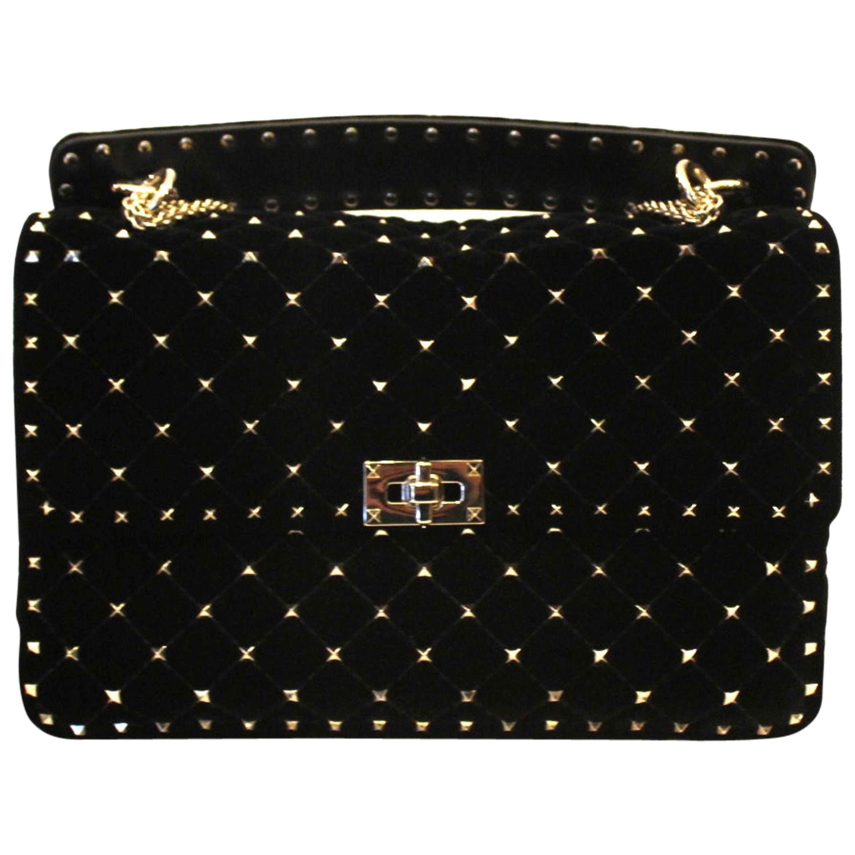 Valentino Black Velvet Rockstud Spike Bag