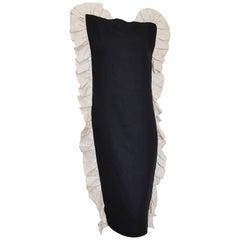 VALENTINO black, vertical wavy white edges, linen and silk dress - Unworn, New.