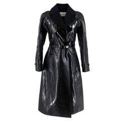 Valentino Black Vinyl Trench Coat 40 XS