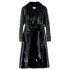 Valentino Black Vinyl Trench Coat XS 40